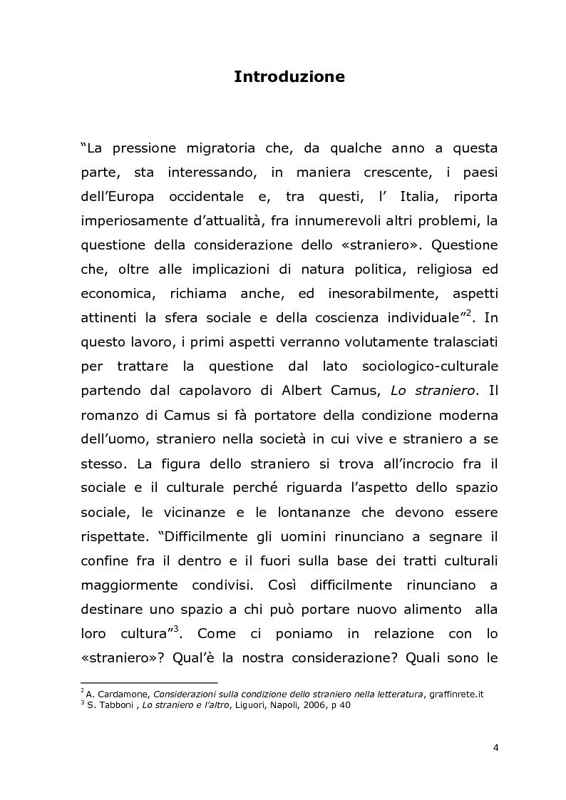 Anteprima della tesi: La relazione con l' ''altro'' nella società postmoderna. Per un'analisi della figura dello straniero., Pagina 1
