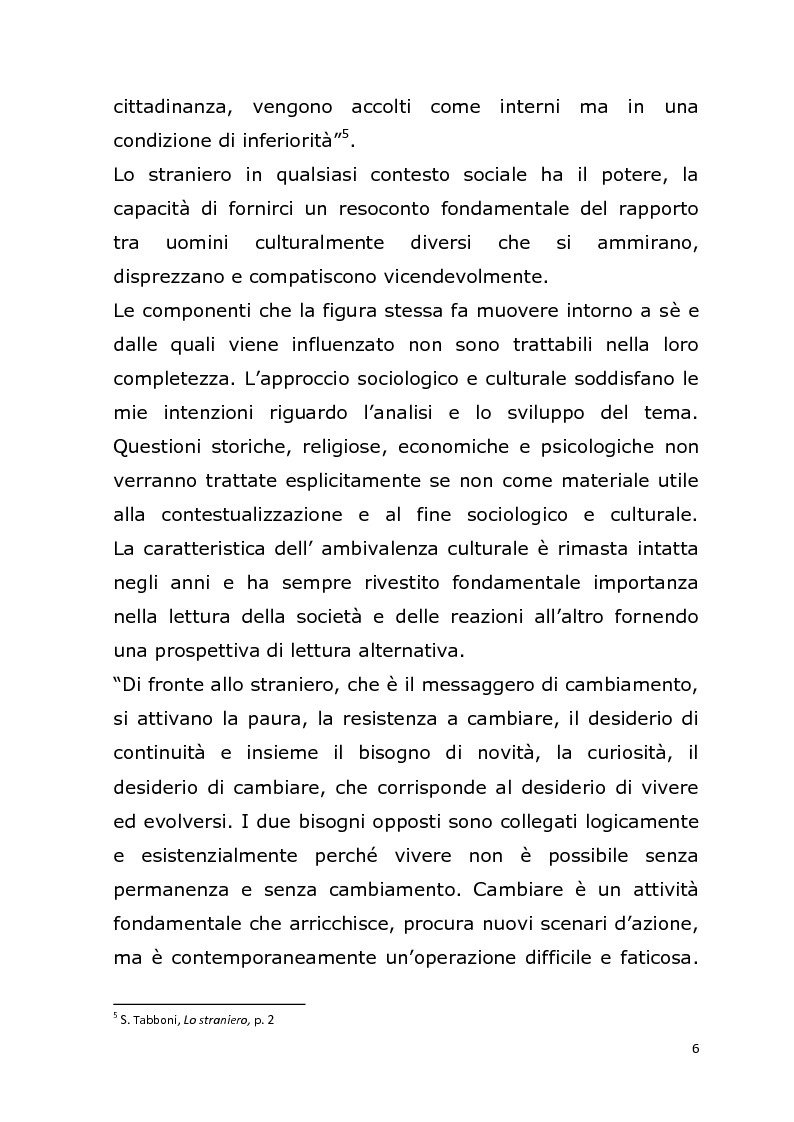 Anteprima della tesi: La relazione con l' ''altro'' nella società postmoderna. Per un'analisi della figura dello straniero., Pagina 3