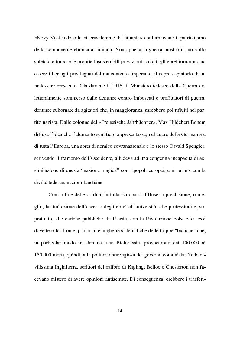 Anteprima della tesi: I Protocolli dei Savi anziani di Sion: storia di un falso antisemita nell'Europa del Novecento, Pagina 12