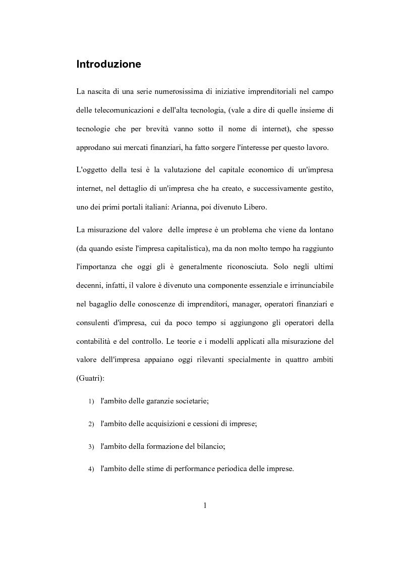 """Anteprima della tesi: La valutazione del capitale economico di una impresa """"internet"""". Il caso Italia Online S.r.l., Pagina 1"""