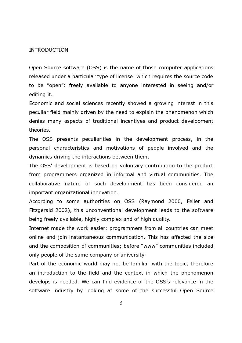 Anteprima della tesi: Micro-Dynamics in the Open Source Software.The Case of Ubuntu Developers, Pagina 1