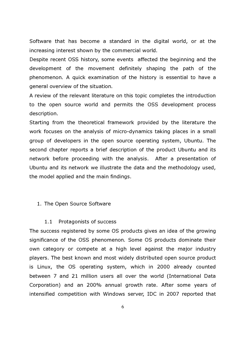 Anteprima della tesi: Micro-Dynamics in the Open Source Software.The Case of Ubuntu Developers, Pagina 2