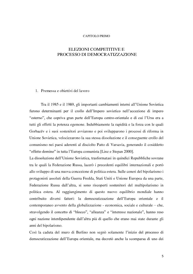 Anteprima della tesi: Verso la democrazia o ritorno all'autoritarismo? La transizione di regime in Russia (1991-2009), Pagina 1