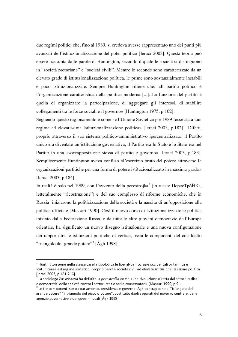 Anteprima della tesi: Verso la democrazia o ritorno all'autoritarismo? La transizione di regime in Russia (1991-2009), Pagina 2