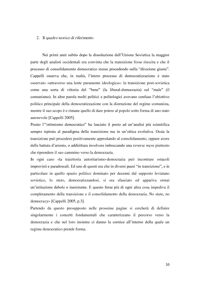 Anteprima della tesi: Verso la democrazia o ritorno all'autoritarismo? La transizione di regime in Russia (1991-2009), Pagina 6