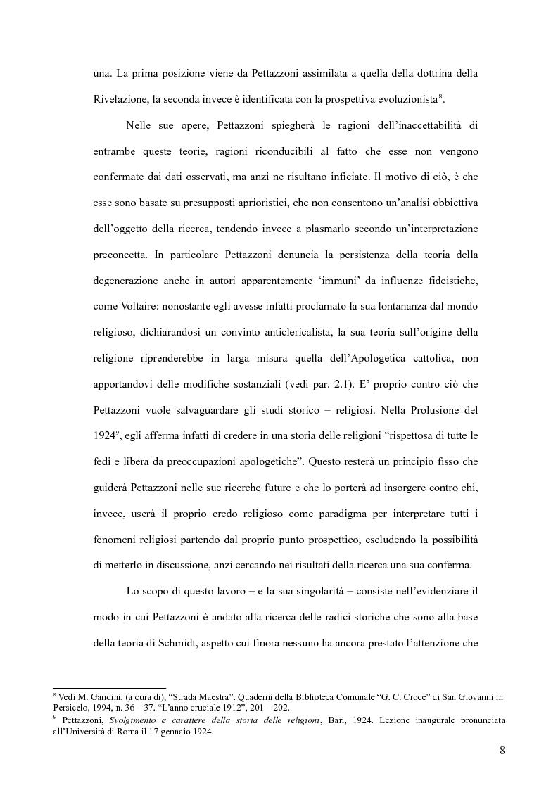Anteprima della tesi: Raffaele Pettazzoni e la formazione del monoteismo. Analisi dei residui teologici presenti nella teoria del monoteismo primordiale., Pagina 6