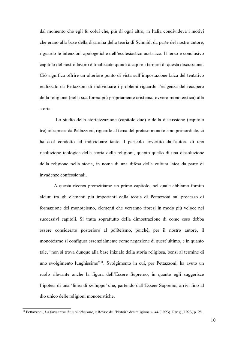 Anteprima della tesi: Raffaele Pettazzoni e la formazione del monoteismo. Analisi dei residui teologici presenti nella teoria del monoteismo primordiale., Pagina 8