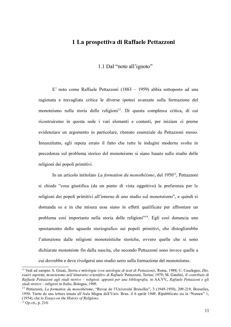Anteprima della tesi: Raffaele Pettazzoni e la formazione del monoteismo. Analisi dei residui teologici presenti nella teoria del monoteismo primordiale., Pagina 9