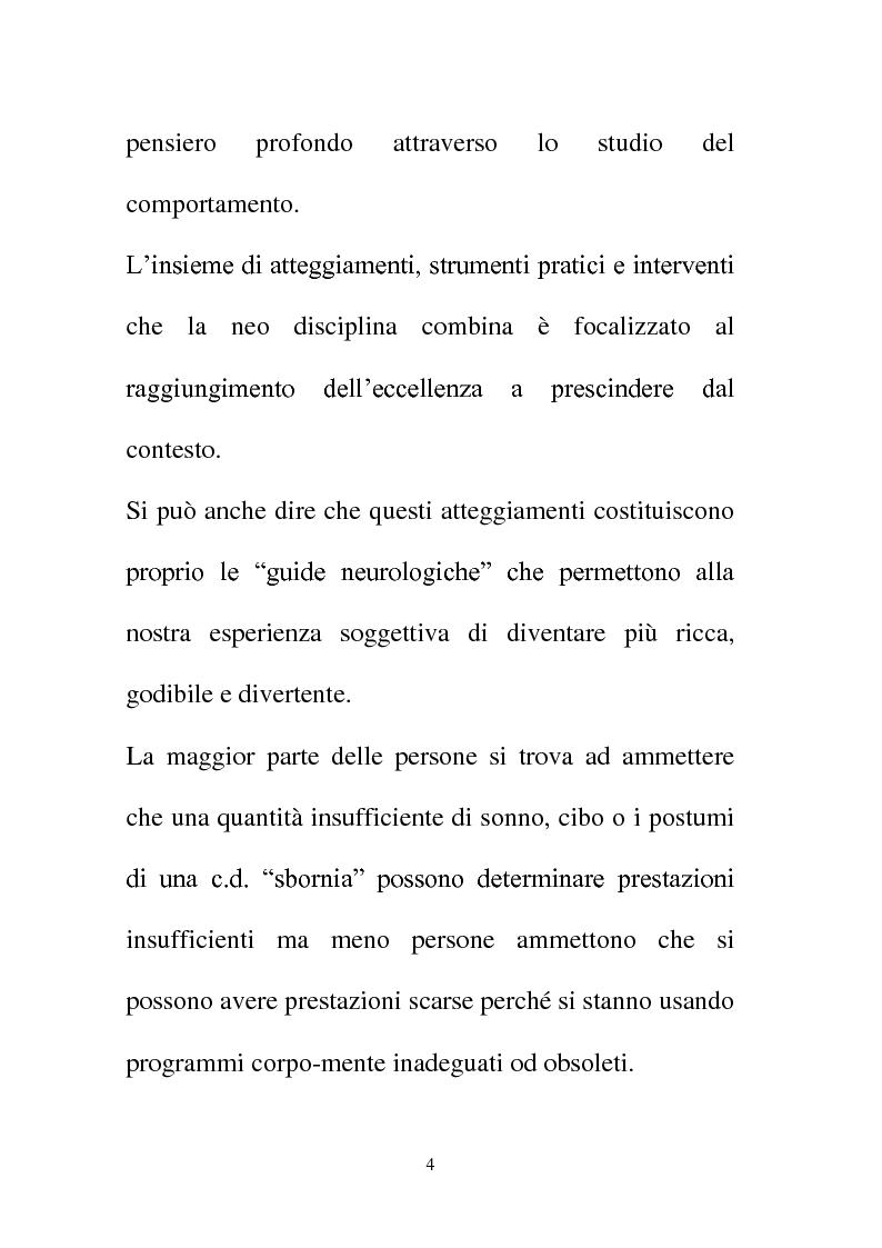 Anteprima della tesi: La Programmazione Neuro Linguistica come modalità di comunicazione efficace, Pagina 4