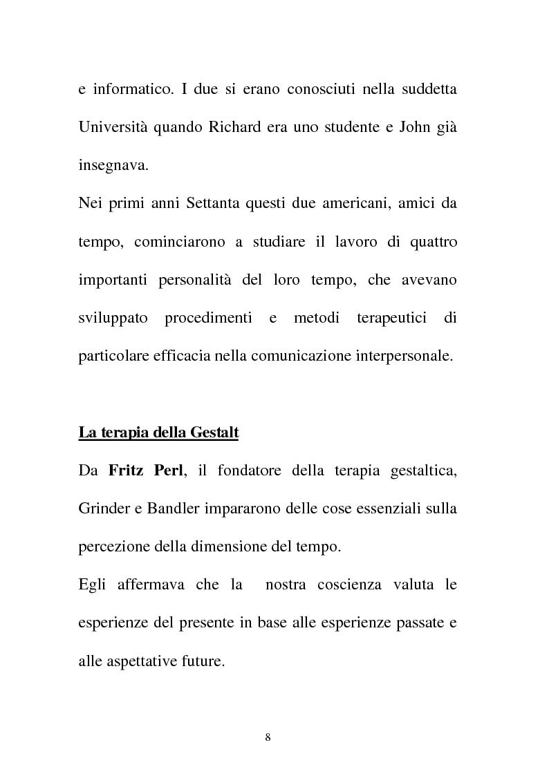 Anteprima della tesi: La Programmazione Neuro Linguistica come modalità di comunicazione efficace, Pagina 8