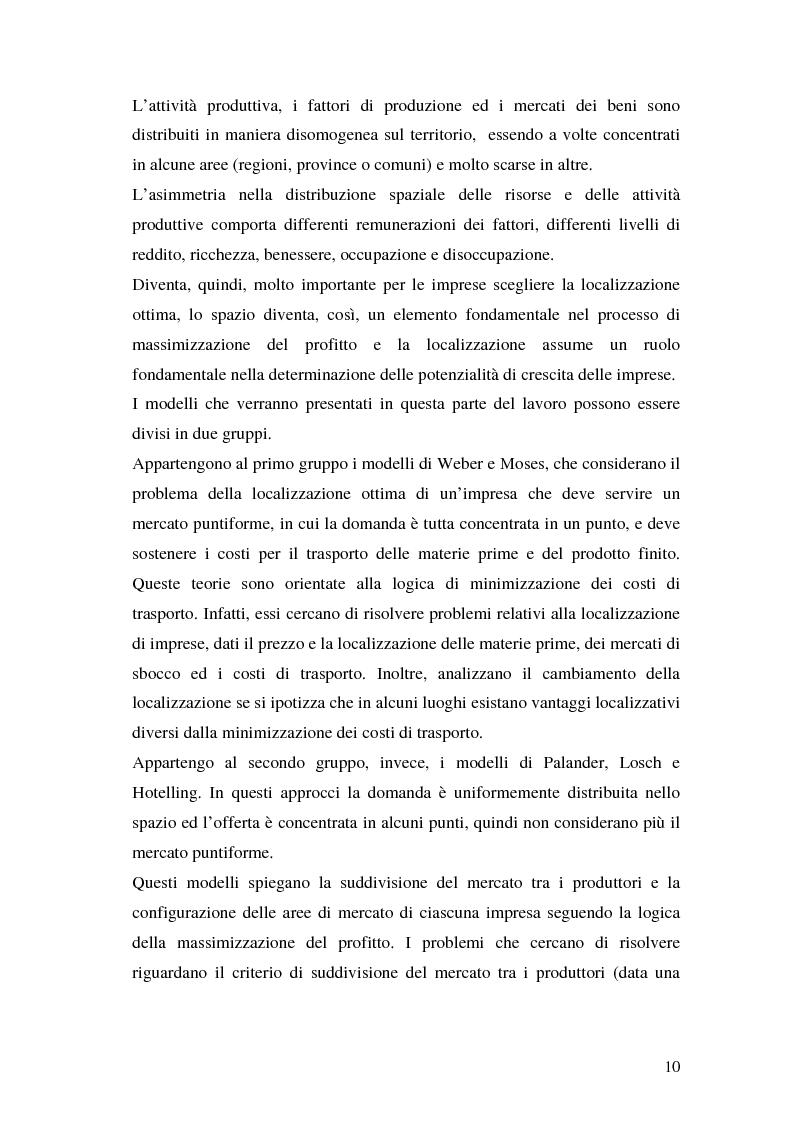 Anteprima della tesi: La teoria della localizzazione e gli investimenti diretti esteri in Italia, Pagina 10