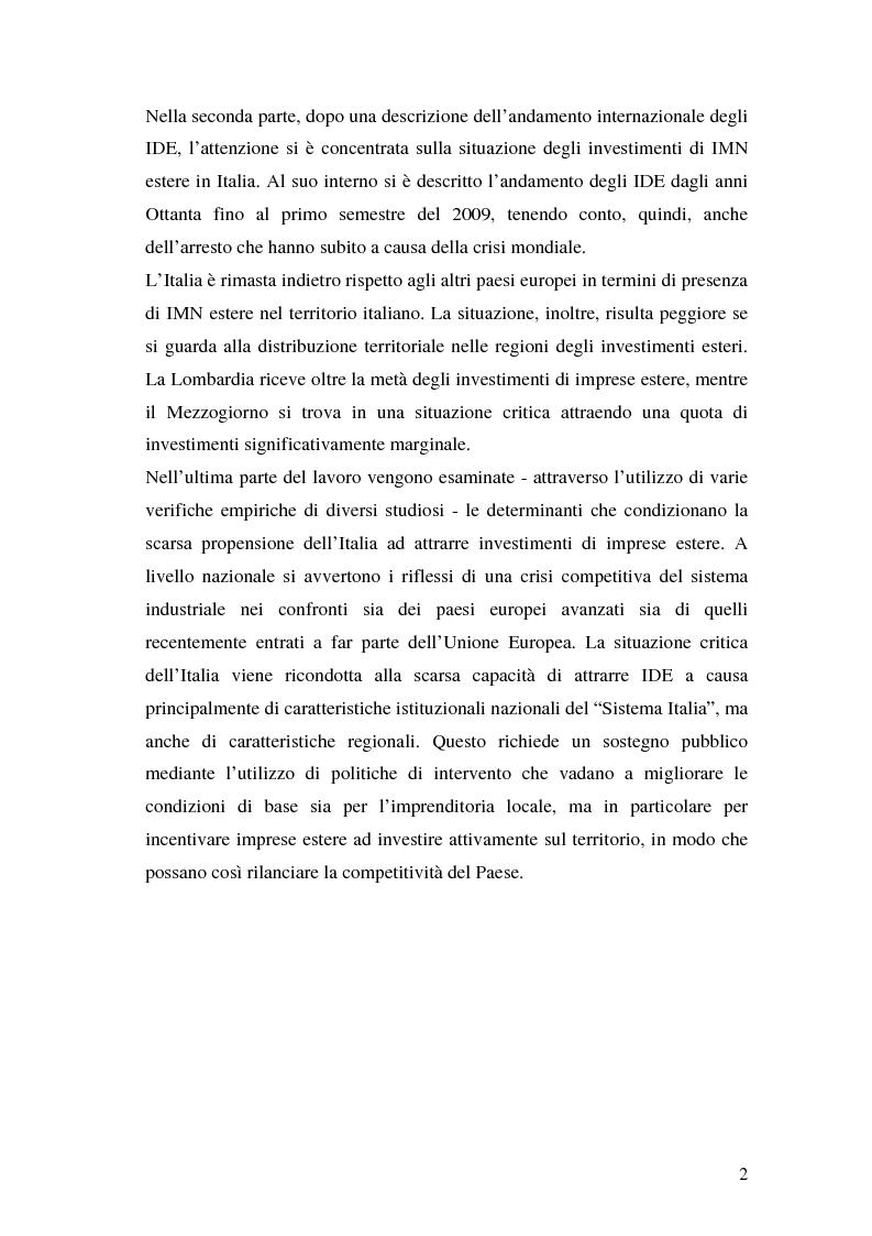 Anteprima della tesi: La teoria della localizzazione e gli investimenti diretti esteri in Italia, Pagina 2