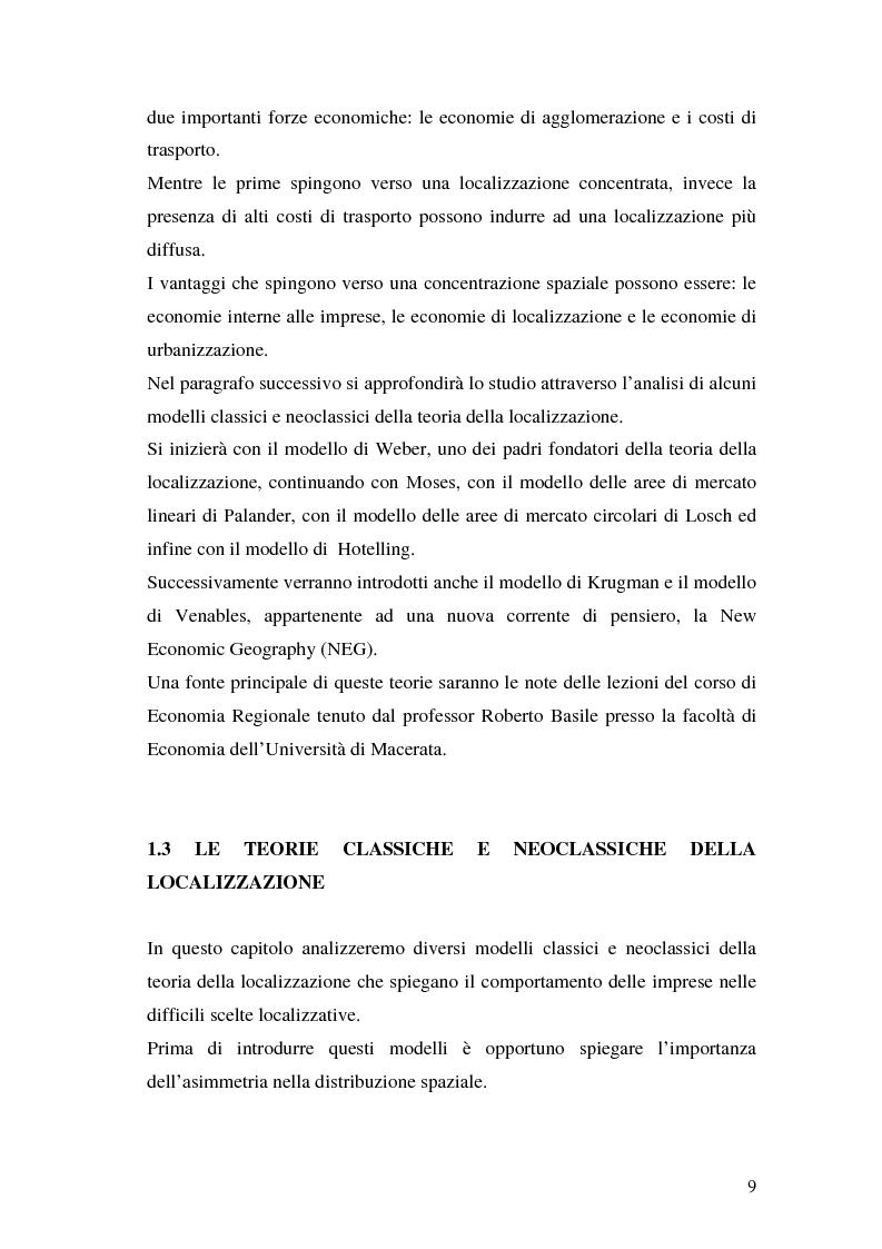 Anteprima della tesi: La teoria della localizzazione e gli investimenti diretti esteri in Italia, Pagina 9