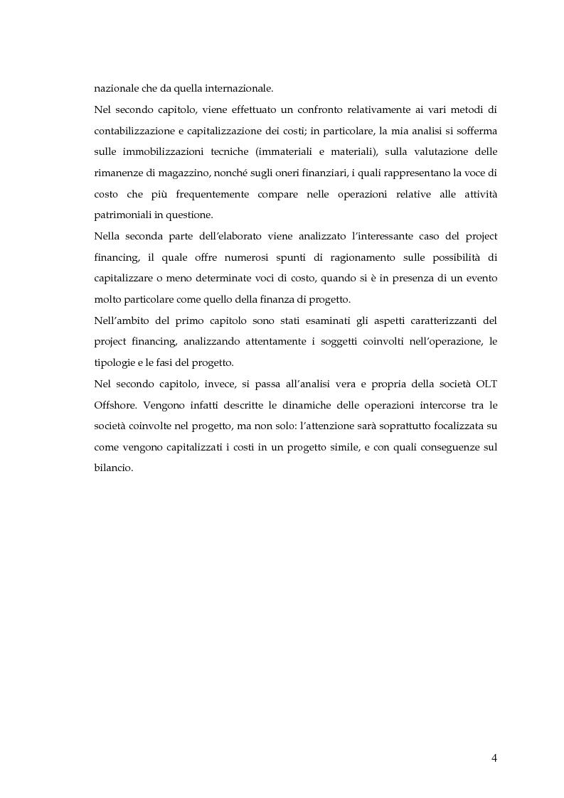 Anteprima della tesi: La capitalizzazione dei costi secondo i principi contabili nazionali e internazionali. Il caso: OLT Offshore LNG Toscana S.p.A., Pagina 2