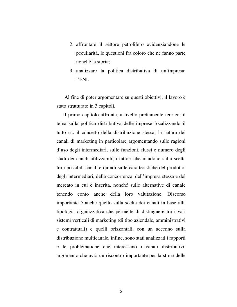 Anteprima della tesi: Problematiche nella politica distributiva delle imprese: il caso ENI, Pagina 2