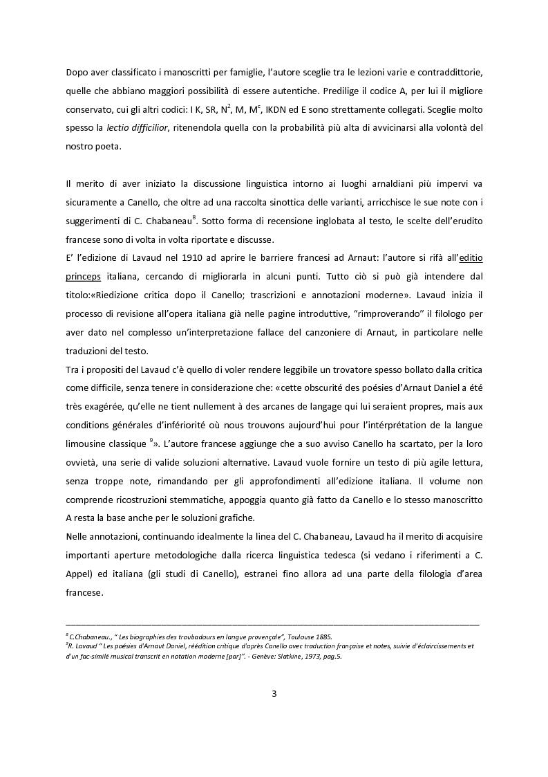 Anteprima della tesi: Edizioni critiche di Arnaut Daniel, confronto tra i commenti, Pagina 3