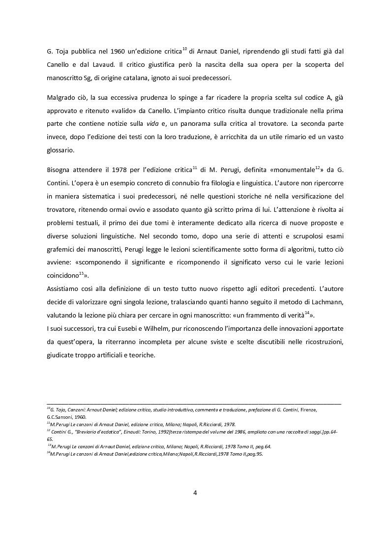 Anteprima della tesi: Edizioni critiche di Arnaut Daniel, confronto tra i commenti, Pagina 4