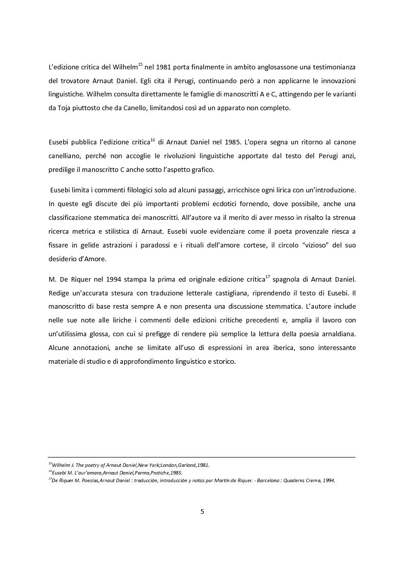 Anteprima della tesi: Edizioni critiche di Arnaut Daniel, confronto tra i commenti, Pagina 5
