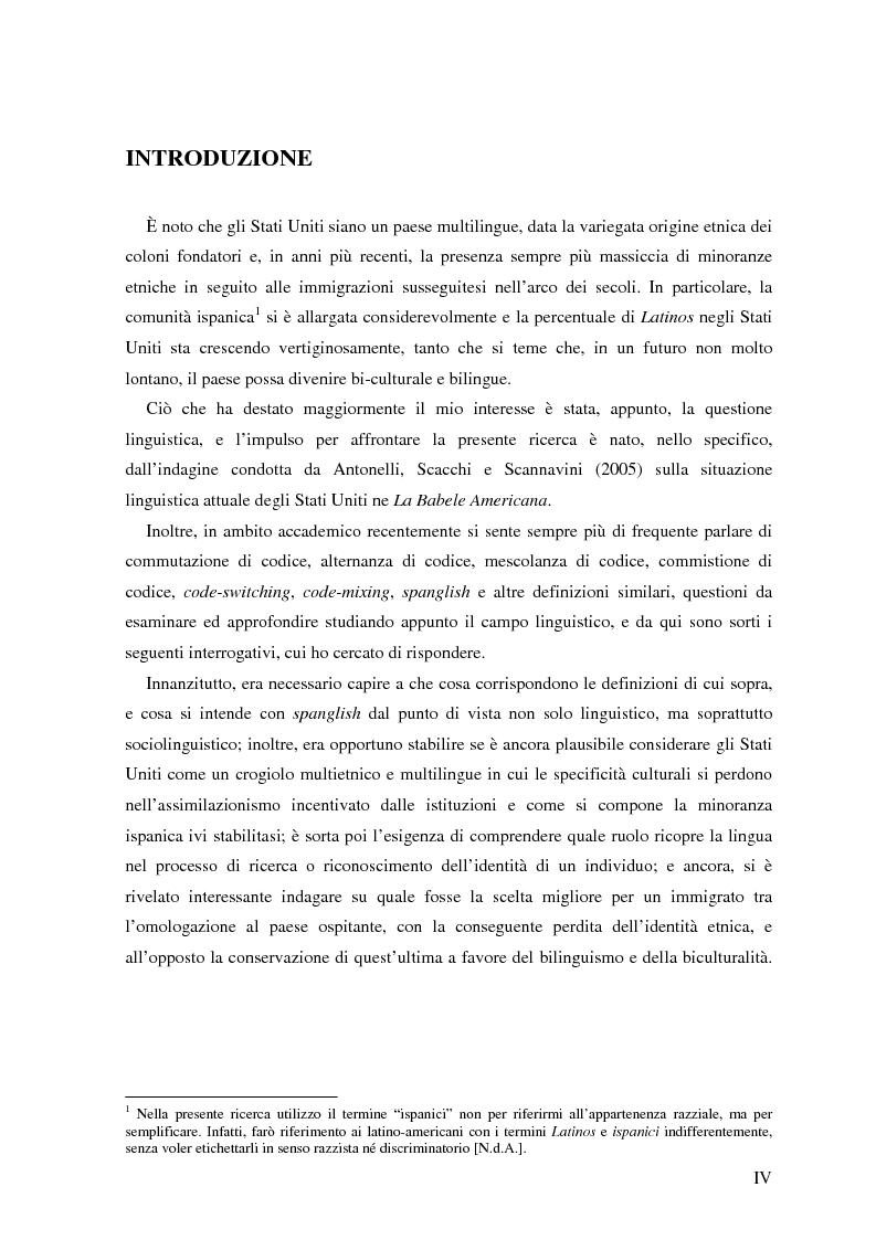 Anteprima della tesi: Commutazione e commistione di codice nel racconto Blow-up di Giannina Braschi, Pagina 1
