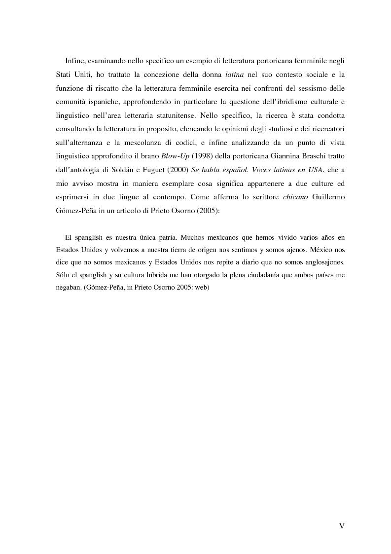 Anteprima della tesi: Commutazione e commistione di codice nel racconto Blow-up di Giannina Braschi, Pagina 2
