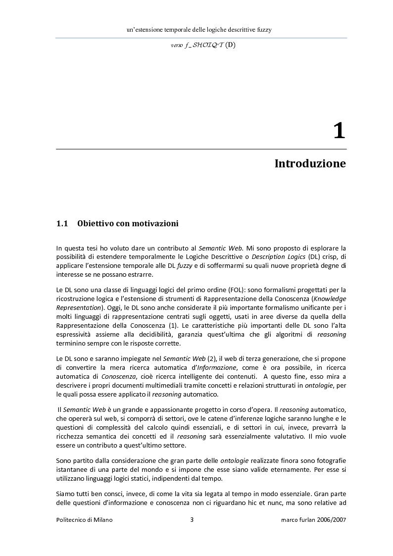 Anteprima della tesi: Un'estensione temporale delle logiche descrittive fuzzy, Pagina 1
