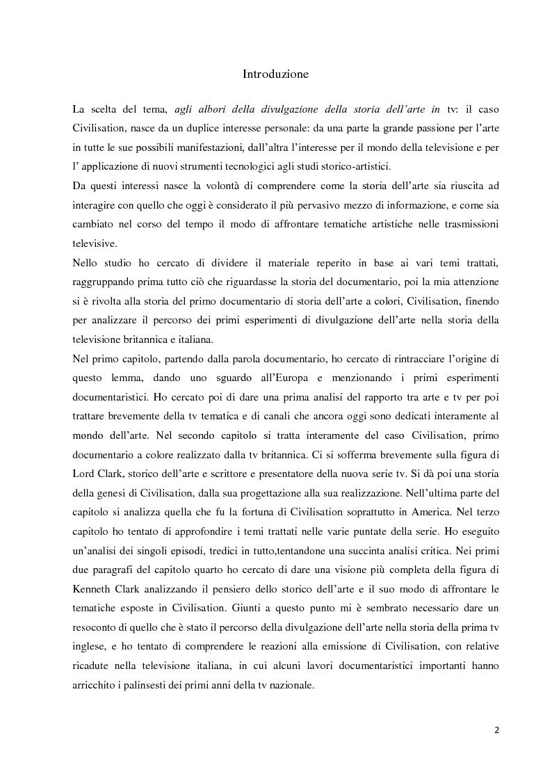 Anteprima della tesi: Agli albori della divulgazione della storia dell'arte in tv: il caso Civilisation, Pagina 1