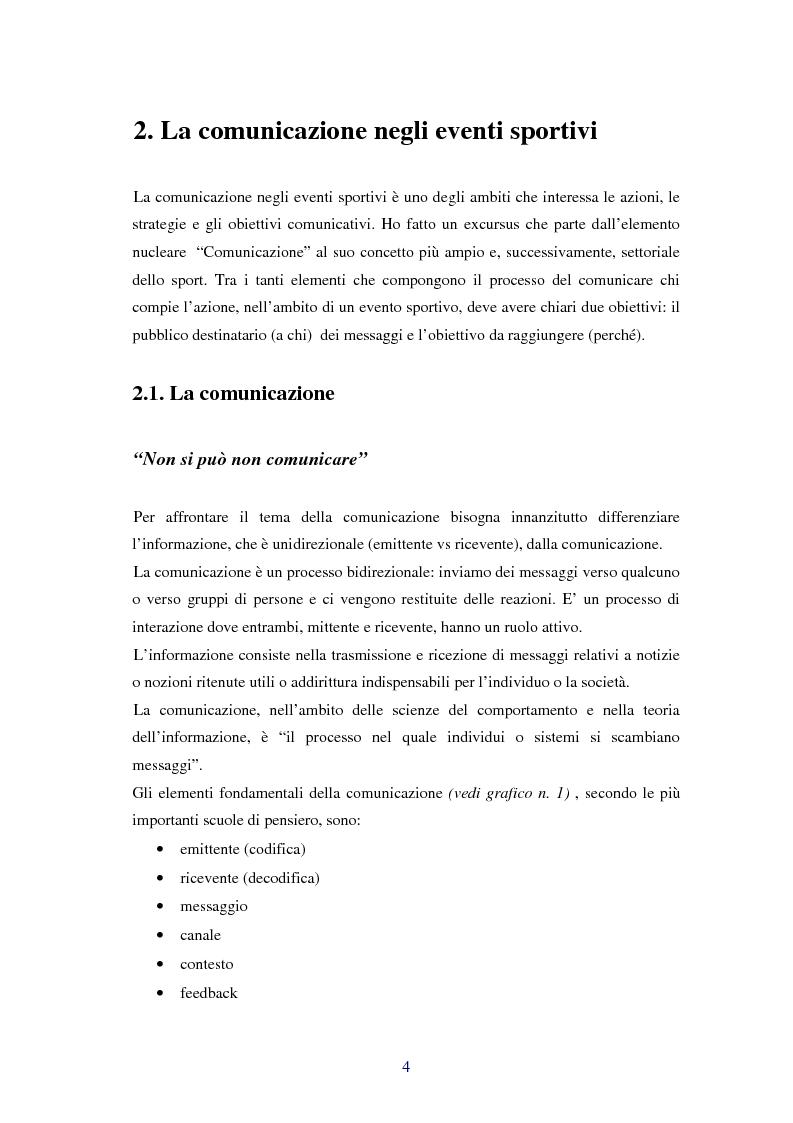 Anteprima della tesi: Comunicare i valori con gli eventi sportivi - Trasmettere i valori individuali e sociali, funzione fondamentale dello sport, Pagina 1