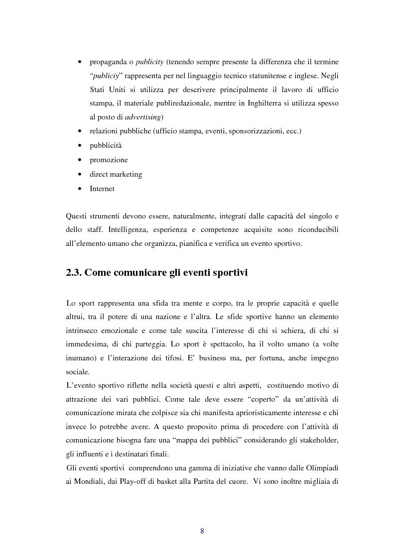 Anteprima della tesi: Comunicare i valori con gli eventi sportivi - Trasmettere i valori individuali e sociali, funzione fondamentale dello sport, Pagina 5