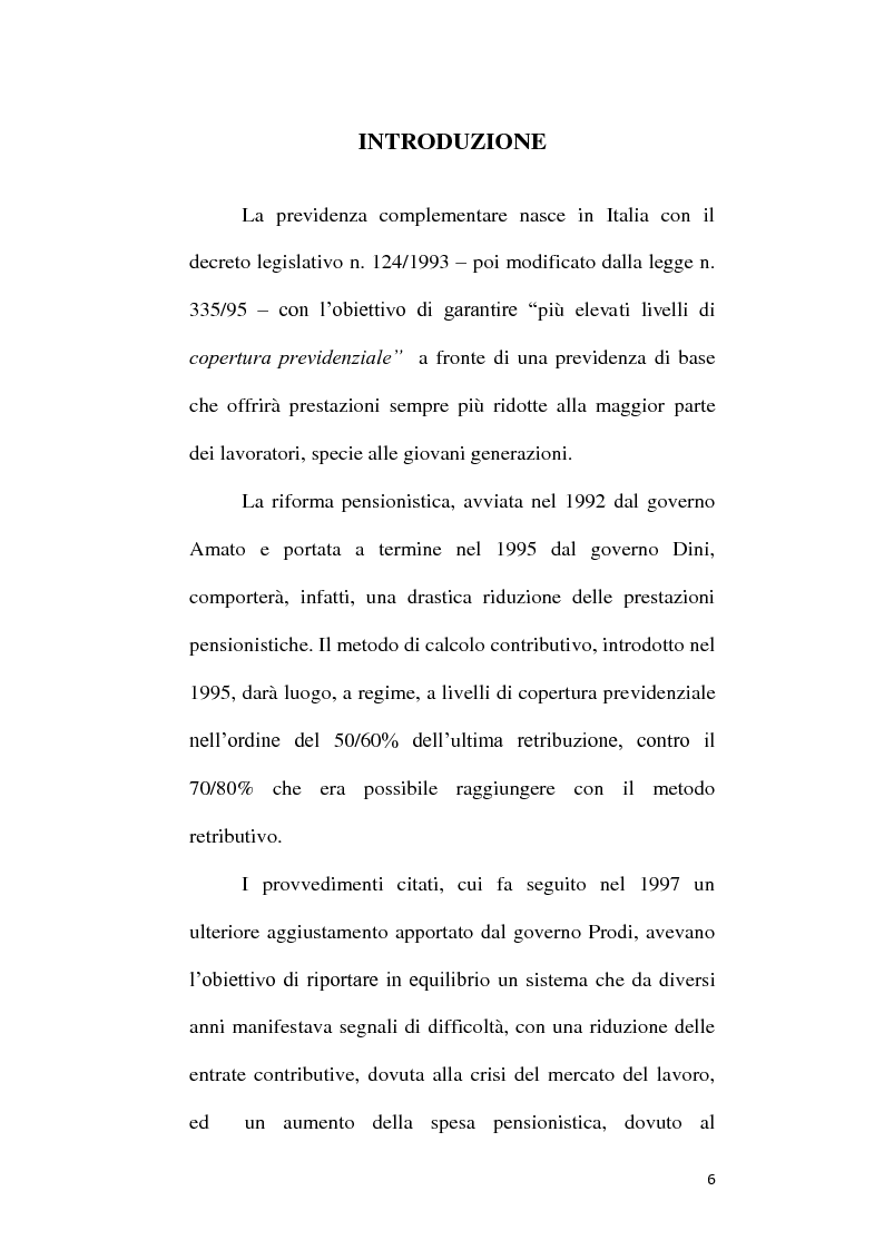 Anteprima della tesi: Fondi Pensione e riforma del Tfr: sistemi finanziari, tipologie e funzionamento dei fondi a contribuzione definita secondo il d.lgs. 252/2005, Pagina 1