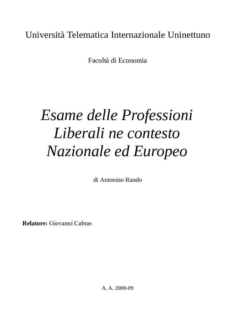Anteprima della tesi: Esame delle professioni liberali nel contesto nazionale ed europeo, Pagina 1
