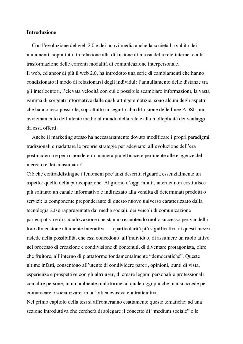 Anteprima della tesi: La gestione della corporate reputation nei social media, Pagina 1
