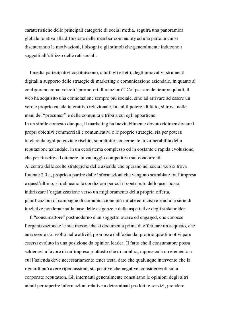 Anteprima della tesi: La gestione della corporate reputation nei social media, Pagina 2