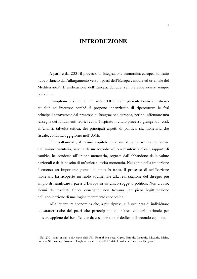 Anteprima della tesi: Unificazione monetaria europea e teoria delle aree valutarie ottimali, Pagina 1