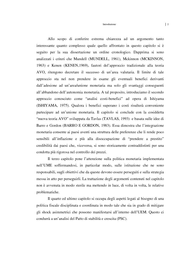Anteprima della tesi: Unificazione monetaria europea e teoria delle aree valutarie ottimali, Pagina 2