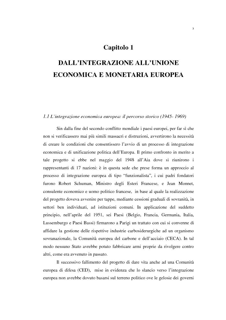 Anteprima della tesi: Unificazione monetaria europea e teoria delle aree valutarie ottimali, Pagina 3