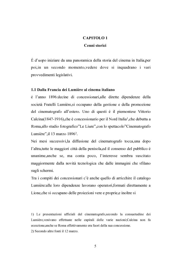 Anteprima della tesi: Norme a sostegno dell'attività cinematografica in Italia, Pagina 1