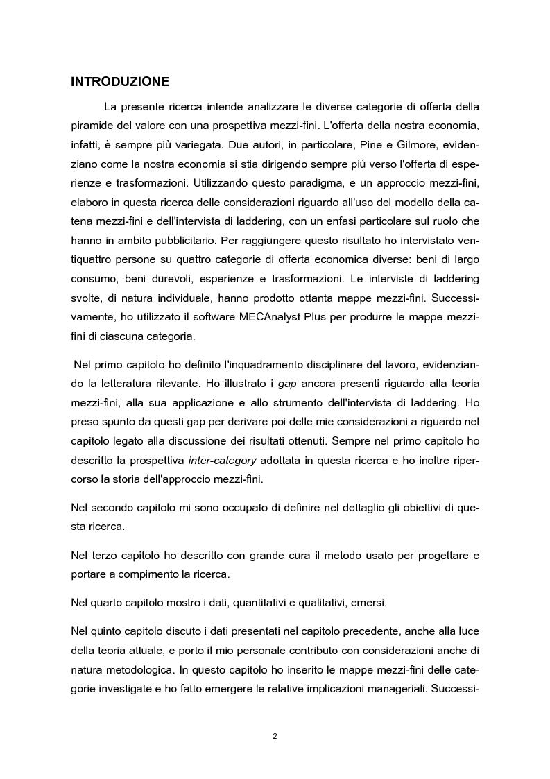 Anteprima della tesi: Means-end chain: il valore della means-end chain in una prospettiva inter-category, Pagina 1