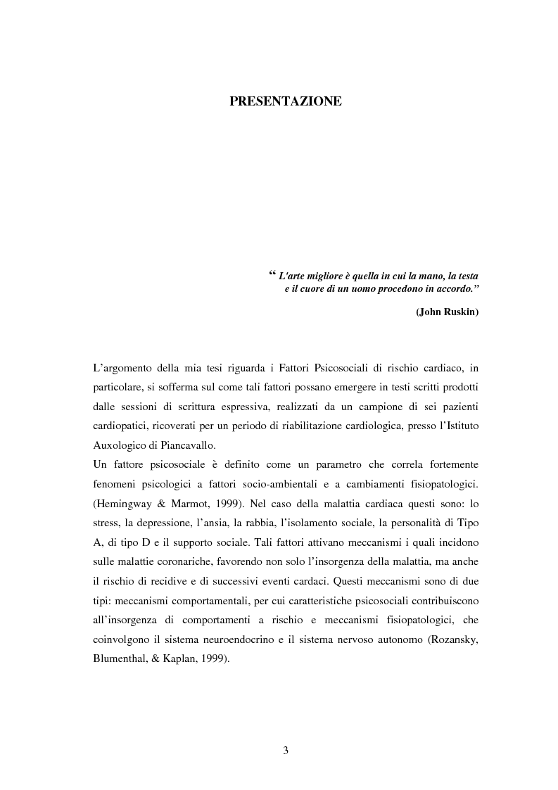 Anteprima della tesi: Scrittura espressiva e fattori psicosociali di rischio in pazienti cardiopatici, Pagina 1