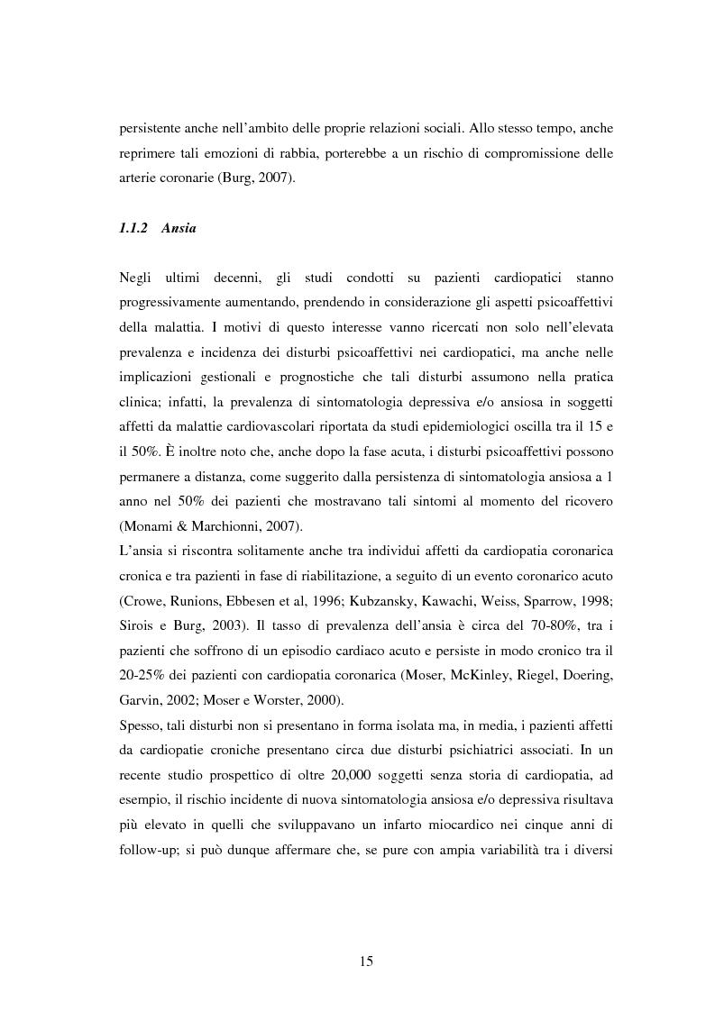 Anteprima della tesi: Scrittura espressiva e fattori psicosociali di rischio in pazienti cardiopatici, Pagina 13