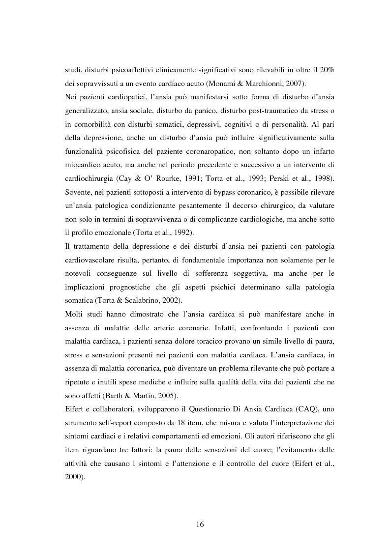 Anteprima della tesi: Scrittura espressiva e fattori psicosociali di rischio in pazienti cardiopatici, Pagina 14