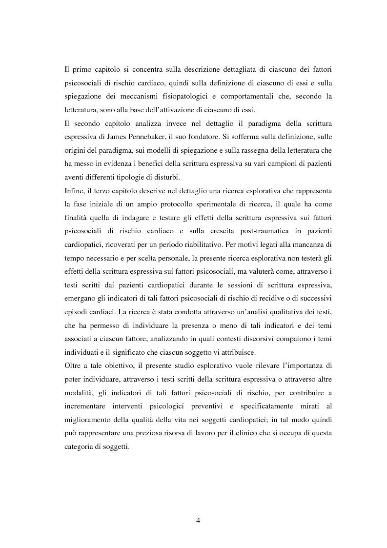 Anteprima della tesi: Scrittura espressiva e fattori psicosociali di rischio in pazienti cardiopatici, Pagina 2