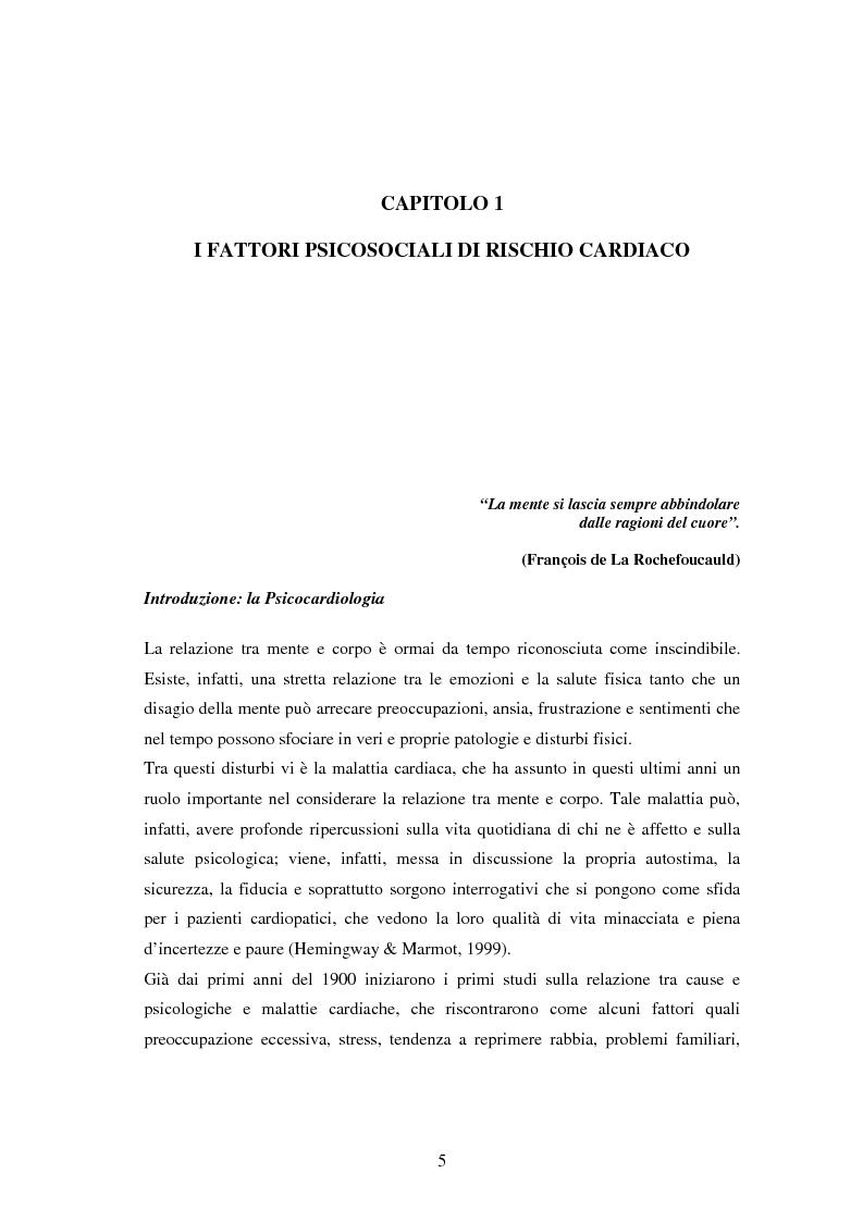Anteprima della tesi: Scrittura espressiva e fattori psicosociali di rischio in pazienti cardiopatici, Pagina 3