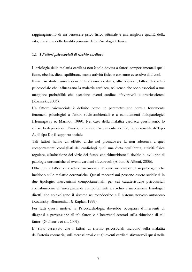 Anteprima della tesi: Scrittura espressiva e fattori psicosociali di rischio in pazienti cardiopatici, Pagina 5