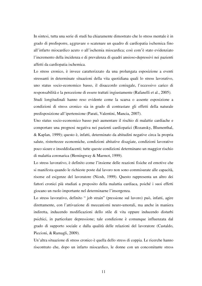 Anteprima della tesi: Scrittura espressiva e fattori psicosociali di rischio in pazienti cardiopatici, Pagina 9