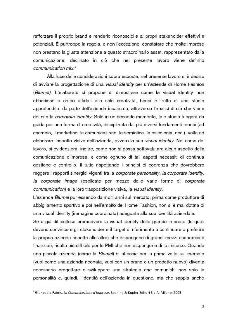 Anteprima della tesi: La visual identity aziendale: il caso Blumel, Pagina 2