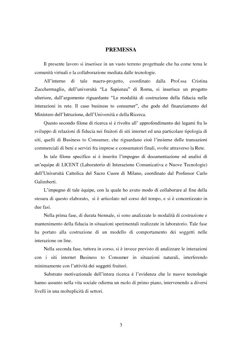 Anteprima della tesi: Modalità di sviluppo delle relazioni di fiducia nelle interazioni on line. Il caso b-to-c in contesti naturali., Pagina 1
