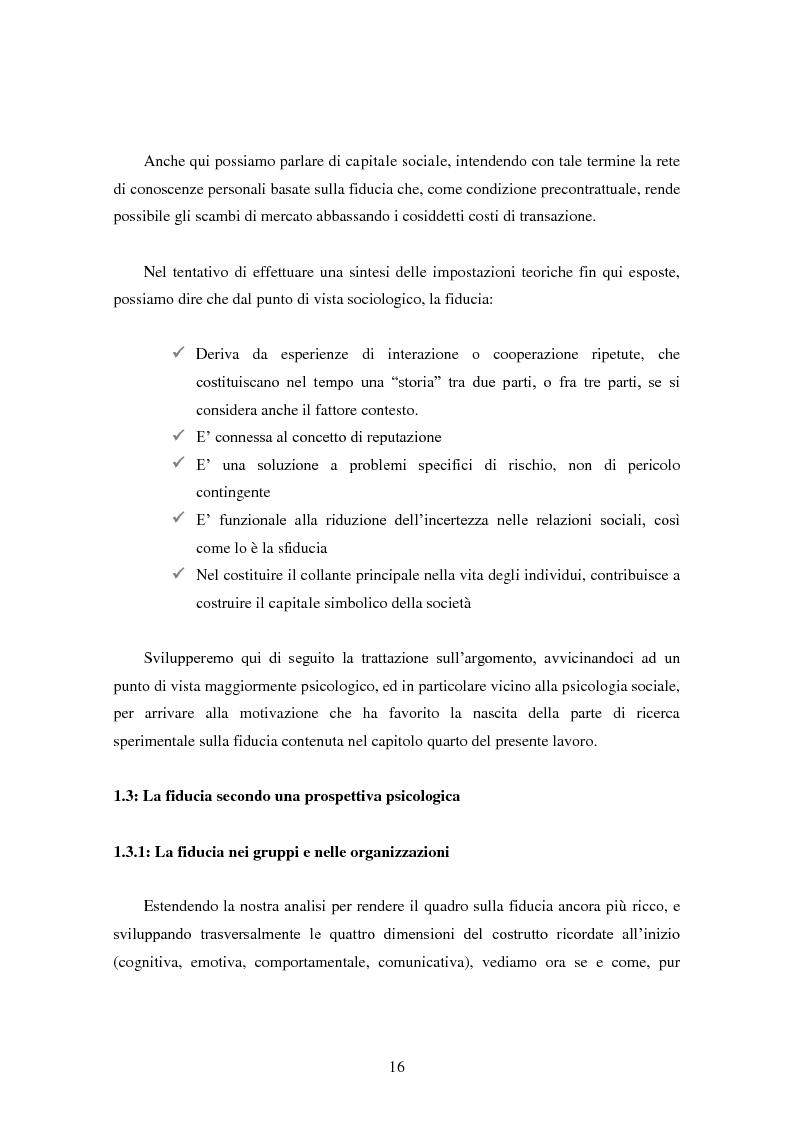 Anteprima della tesi: Modalità di sviluppo delle relazioni di fiducia nelle interazioni on line. Il caso b-to-c in contesti naturali., Pagina 14