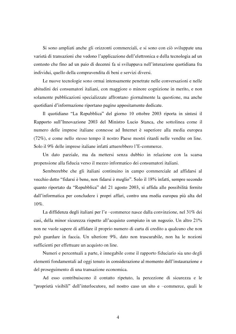 Anteprima della tesi: Modalità di sviluppo delle relazioni di fiducia nelle interazioni on line. Il caso b-to-c in contesti naturali., Pagina 2