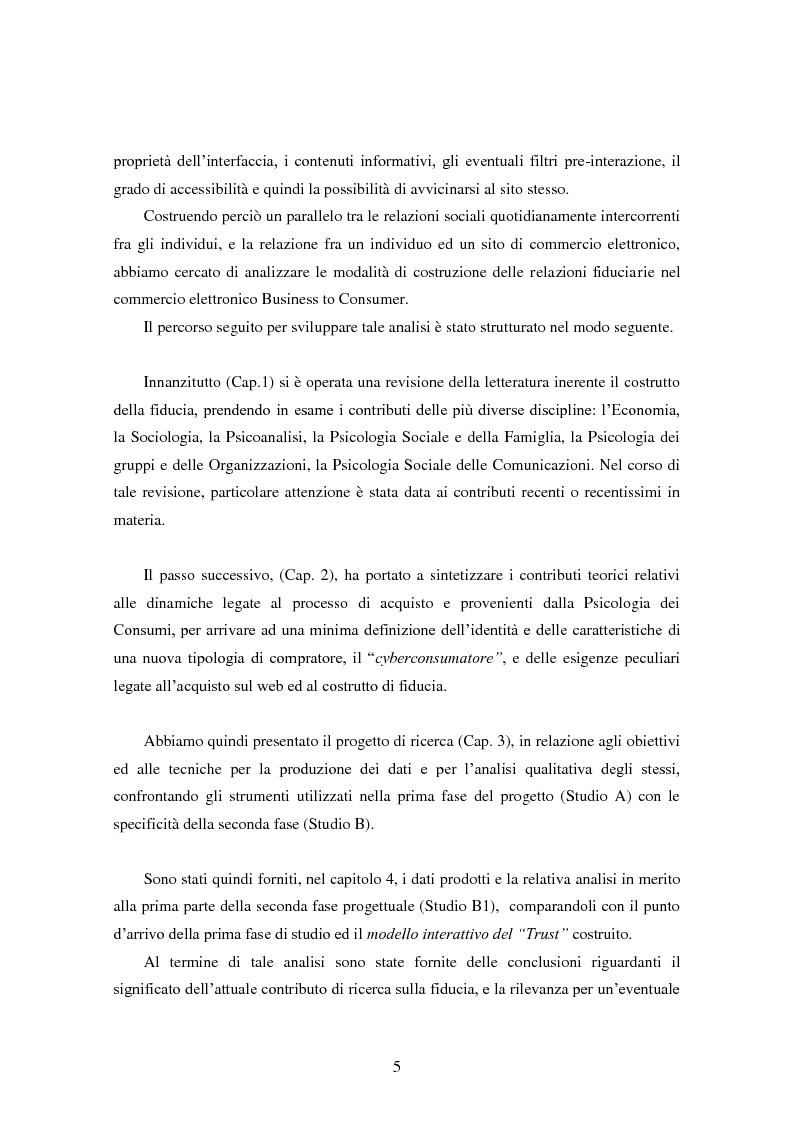 Anteprima della tesi: Modalità di sviluppo delle relazioni di fiducia nelle interazioni on line. Il caso b-to-c in contesti naturali., Pagina 3