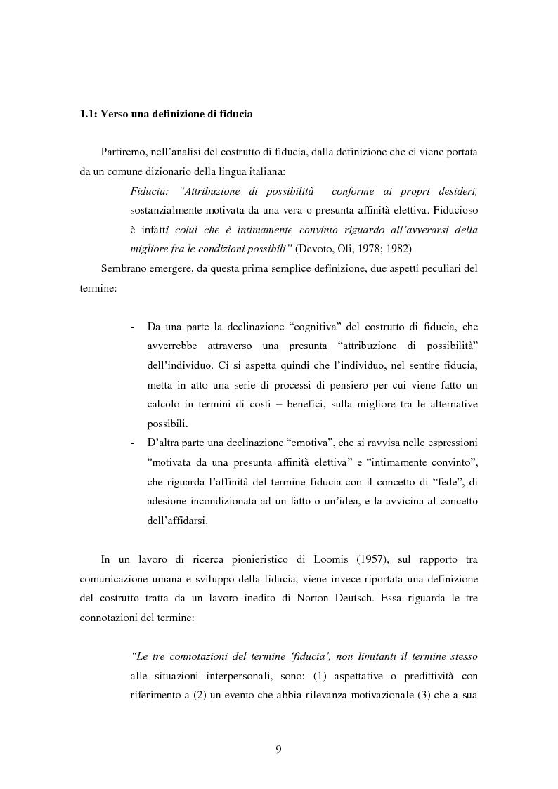 Anteprima della tesi: Modalità di sviluppo delle relazioni di fiducia nelle interazioni on line. Il caso b-to-c in contesti naturali., Pagina 7